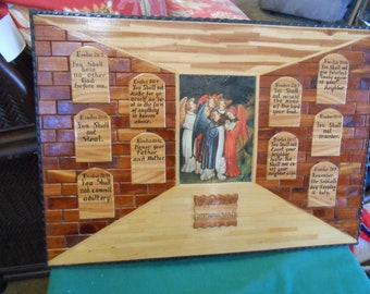 Plaque-THE 10 COMMANDMENTS Wood-Handcrafted