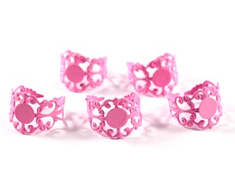 5 supports of the rings ring pink filigree ring finding