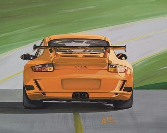 PORSCHE 997 GT3RS - acrylic painting canvas board
