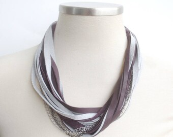 Chain Leather Necklace for Women, Purple Grey Leather Bib Necklace Silver and Gunmetal Chains, String Statement Necklace