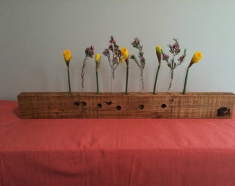 9-stem reclaimed wood bud vase/centerpiece