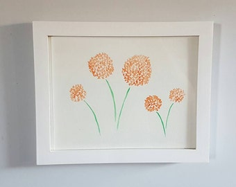 Orange  Wildflowers - Watercolor - Original