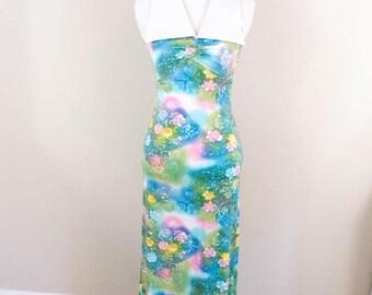 Dreamy 60s Pastel Rainbow Maxi Dress - XXS  XS - Pastel Dress - 60s Dress - Rainbow Dress - 60s Clothing - Vintage Maxi Dress - Unique Dress