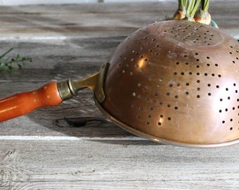 Vintage Copper Strainer, Colander,French Farmhouse Decor, Copper Wall Hanging, Vintage Copper Pots, Italian Kitchen