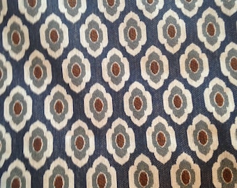 Blue Flower Modern Curtain Upholstery Fabric by the Yard- Ready to Ship