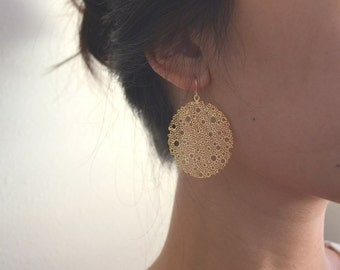 Gold Seafoam Filigree Earrings, Silver Available