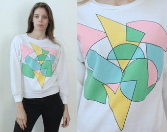 Vintage 90s Geometric Sweater // Colorful Pullover Jumper Womens - Small