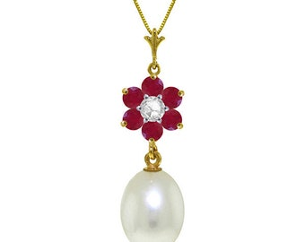 14K. gold necklace with  natural  PEARL, RUBIES & DIAMOND rose gold yellow gold white gold