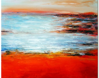 Morning Seaside Landscape Oil Painting - Signed Hand Painted Modern Abstract Fine Art  On Canvas