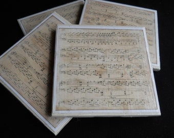 Music Coasters ~ Music Sheet Coasters ~ Ceramic Tile Coasters ~ Music Teacher Gift ~ Home Decor ~ Drink Coasters ~ Music Lover Gift