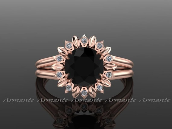 Sunflower Engagement Ring Black Diamond Engagement Ring