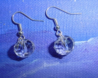 Transparent faceted glass bead earrings