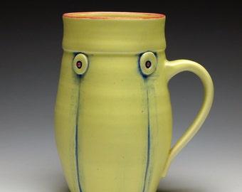 Hand thrown mug, Yellow Button Ceramic Coffee Mug, 12 oz