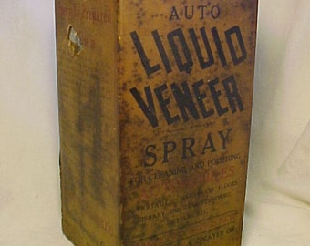 c1920-30s Auto Liquid Veneer Spray Buffalo Specialty Co. Buffalo, N.Y., one gallon tin can, Antique Automobile Polish Tin, Man Cave Decor