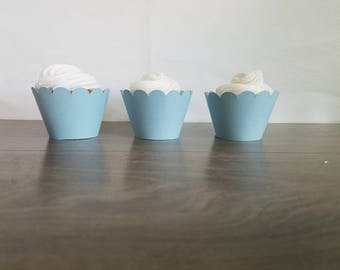 12 light blue scallop cupcake wrappers, ocean theme, mermaid birthday party