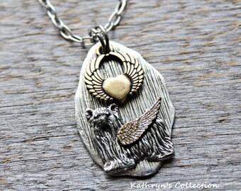 Yorkie Angel Necklace, Yorkshire Terrier Angel, Yorkie Sympathy Gift, Pet Memorial Jewelry, Yorkie Mom