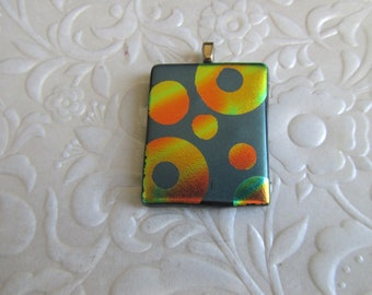 """Fused Dichroic Pendant - Fused Jewelry - Dichroic Circles - Glass Pendant - Measures 1.25"""" x 1"""""""