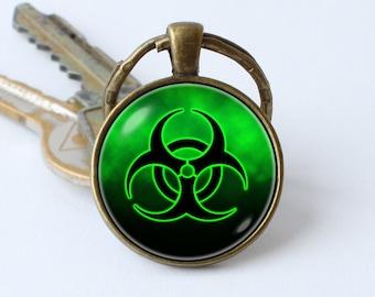 Radiation keychain Radioactivity Gift for men Symbol keyring Radiation jewellery Sign jewelry Men pendant Women gift Toxic Science Biology