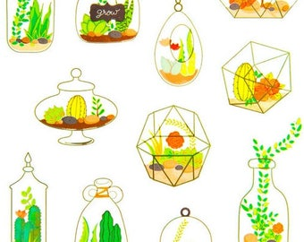 Terrarium Succulents & Cactus Stickers Stationery/Personal Planners/Paper Craft Supplies