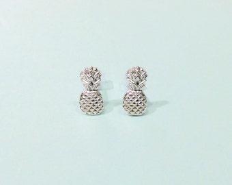 Pineapple studs - Pineapple earrings - Sterling silver pineapple studs earrings with sterling silver posts