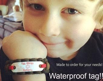 Kids medical alert bracelet choice of paracord color, Waterproof lead & nickel free survival rope wrist cuff, Child's custom alert ID