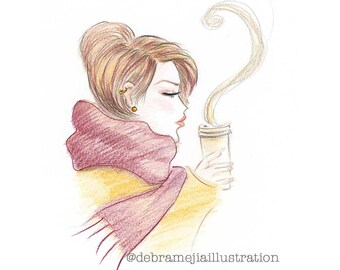 Pumpkin Spice Fashion Print, Fashion Sketch, Fall Fashion Illustration, Chic Wall Art, Coffee Art, Kitchen Decor, Coffee Lover Print