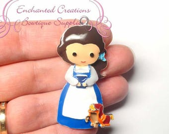 "2"" Belle With Ottoman Friend Inspired Charm, Yellow Ball Gown, Chunky Pendant, Keychain, Bookmark, Zipper Pull, Chunky Jewelry, Purse Charm"