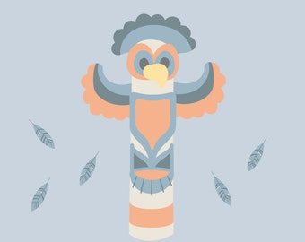 Totem Pole and Feathers Wall Decals - Tribal Fabric Wall Decals
