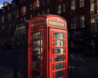 Red Telephone Box, London Photography Print, London Print, Telephone Box, London phone booth, British Print, London Home Decor, England UK