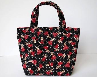 Girl's Bag, Mini Tote Bag, Kids Bag, Handbag for Girls, Cute Bunny Fabric, Easter Gift, Gift for Little Girl, Girls Accessories, Cute Bunny