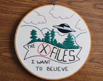 The X-Files Embroidered Wall Hanging Hoop