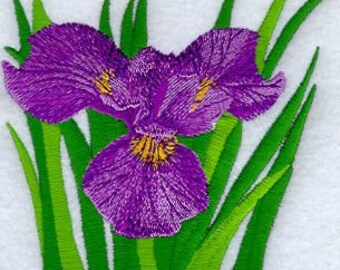 Detailed Iris Embroidered Flour Sack Hand/Dish Towel