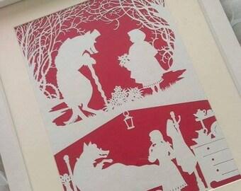 little red riding hood framed paper cut