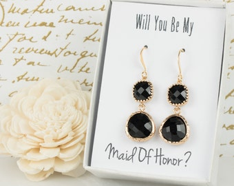 Long Black Gold Earrings, Gold Black Earrings, Black Gold Earrings, Bridesmaid Jewelry, Black Wedding Jewelry, Bridal Accessories