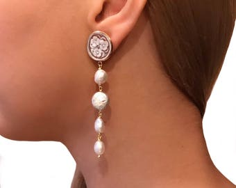 Long earrings for wife birthday, gift for her, statement earrings, anniversary gift for mom, Mothers day, pearls earrings, cameo earrings