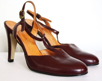 CLASSIC AIGNER Vintage 1970s Oxblood Leather Heels / Etienne Aigner / Size 5.5 / Made in Italy