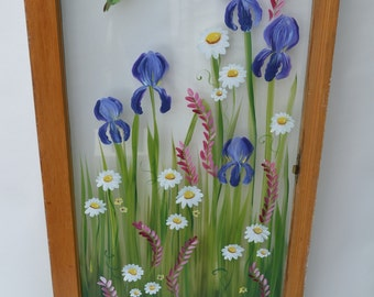 Old Windows/ Painted Windows/ Vintage Windows/ Iris/Hummingbird/Floral Scene/Window Art/ Nature Window/Daisies