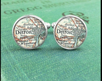 Detroit Cufflinks, Map Cuff Links, Michigan Jewelry, Detroit Map, Groomsmen Gift, Best Man Gift, Gift for Him, Anniversary Gift