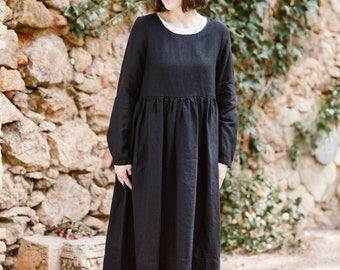 Black Maxi Dress, Gothic Dress, Linen Kaftan, Women Dress, Plus Size Dress, Loose Dress, Long Sleeve Dress, Linen Long Dress /Black Smock LS