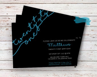 21st invitations etsy 21st birthday blue glitter invitationtwenty first birthday adults invitations blue 21 filmwisefo Image collections