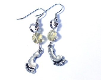 Baby Feet Charm Earrings with Amber Twisted Crystal Focal Bead Perfect for New Moms or Baby Showers