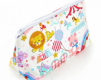 JULY PREORDER Cosmetic pouch bag with white cute animal print japanese fabric make up case gift bag travel kit toiletry zipper