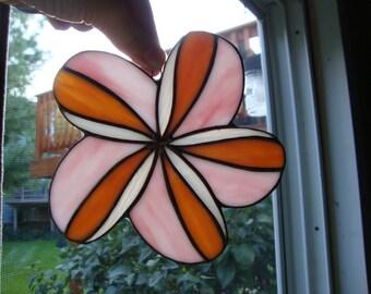 Stained glass plumeria suncatcher