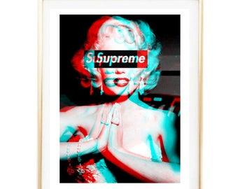 supreme marilyn monroe print fashion logo art room decor Typographic Print brandy melville frame quotes bedroom decor tumblr room decor 8x10