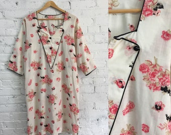 vintage 80s does 30s floral tunic dress / oversized sack dress with contrast details / pink rose print sheath dress