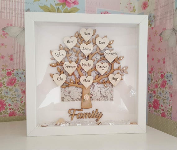 Family Tree Frame, Personalised Family Tree Gift Frame, Up to 12 Hearts Gift, Family Frame, Personalized, mothers day gift