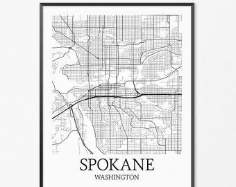 Spokane Map Art Print, Spokane Poster Map of Spokane Decor, Spokane City Map Art, Spokane Gift, Spokane Washington Art Poster