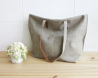 Simple Tote Bags Small Size Botanical Dyed Linen-Cotton Blend