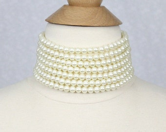 Layered Pearl Choker Ivory White Chunky Pearl Choker Seven Strand Pearl Necklace Vintage Style Bridal Pearl Necklace Statement Necklace