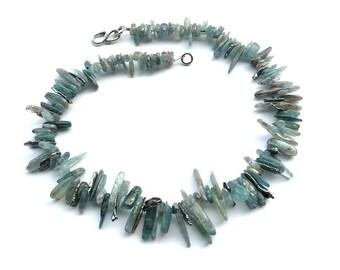 Waterlife -- Shimmering Blue Kyanite and Biwa Pearl Choker
